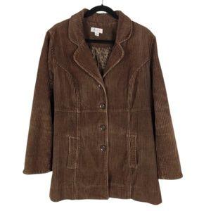 Denim & Company Brown Corduroy Coat
